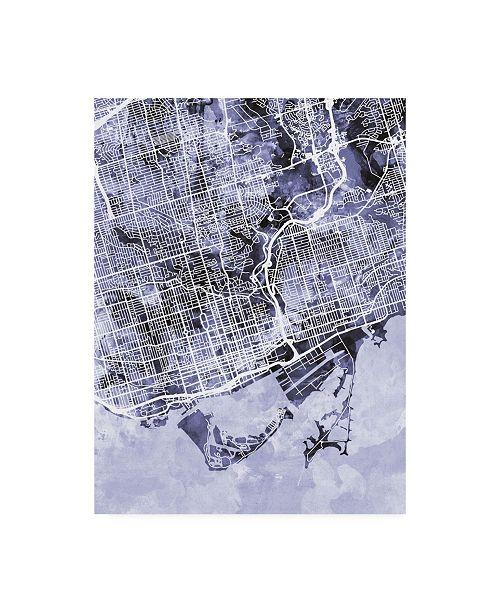 "Trademark Global Michael Tompsett Toronto Street Map Blue Canvas Art - 19.5"" x 26"""