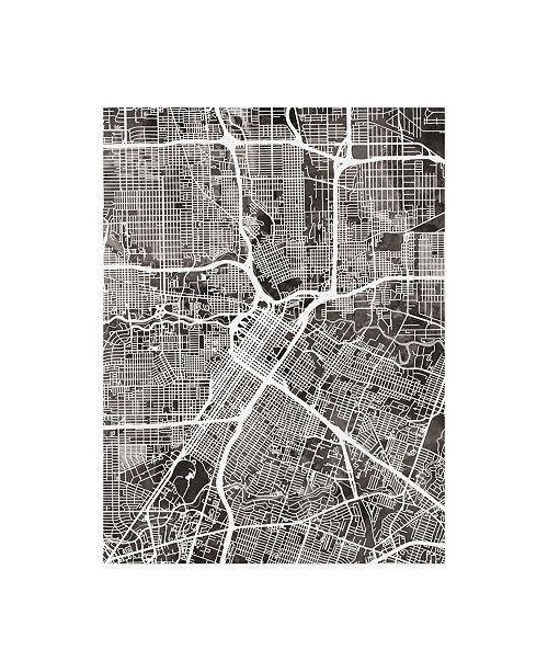 "Trademark Global Michael Tompsett Houston Texas City Street Map Black Canvas Art - 19.5"" x 26"""