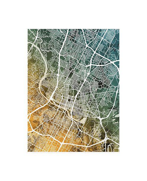 "Trademark Global Michael Tompsett Austin Texas City Map Teal Orange Canvas Art - 19.5"" x 26"""