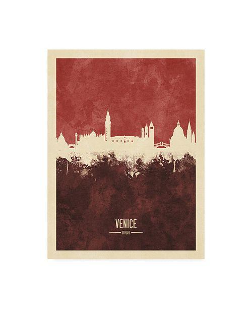 "Trademark Global Michael Tompsett Venice Italy Skyline Red II Canvas Art - 19.5"" x 26"""
