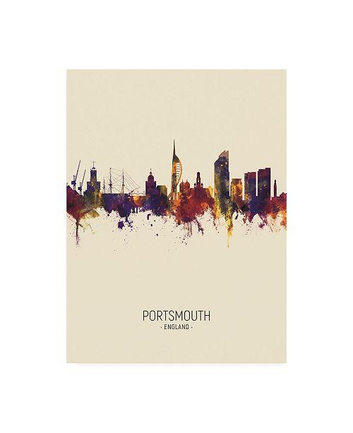 "Trademark Global Michael Tompsett Portsmouth England Skyline Portrait III Canvas Art - 19.5"" x 26"""