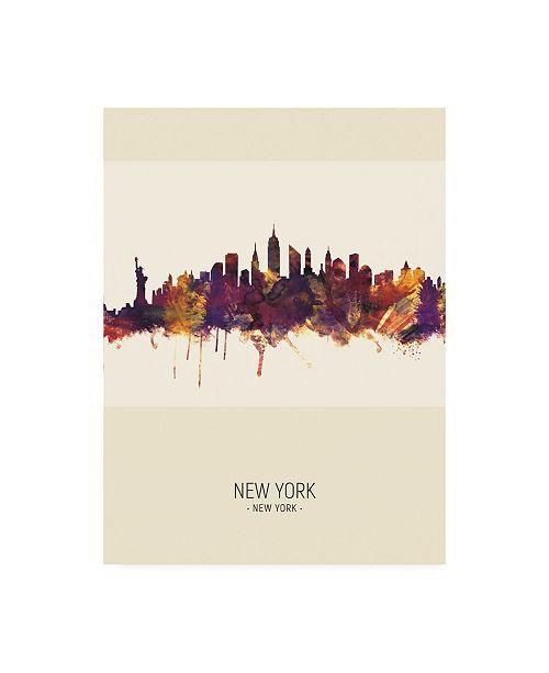 "Trademark Global Michael Tompsett New York City Skyline Portrait III Canvas Art - 15.5"" x 21"""