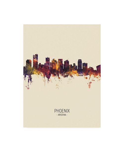 "Trademark Global Michael Tompsett Phoenix Arizona Skyline Portrait III Canvas Art - 36.5"" x 48"""