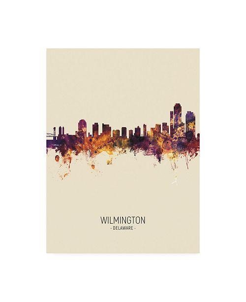 "Trademark Global Michael Tompsett Wilmington Delaware Skyline Portrait III Canvas Art - 15.5"" x 21"""
