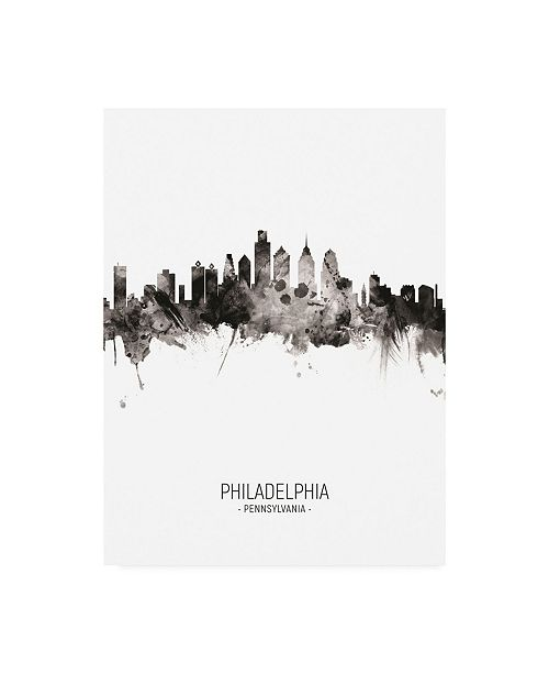 "Trademark Global Michael Tompsett Philadelphia Pennsylvania Skyline Portrait II Canvas Art - 15.5"" x 21"""