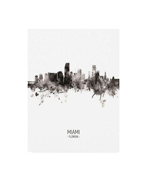 "Trademark Global Michael Tompsett Miami Florida Skyline Portrait II Canvas Art - 36.5"" x 48"""