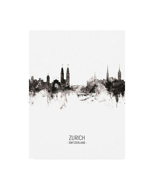"""Trademark Global Michael Tompsett Zurich Switzerland Skyline Portrait II Canvas Art - 15.5"""" x 21"""""""