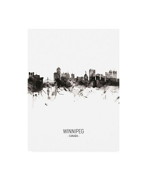 "Trademark Global Michael Tompsett Winnipeg Canada Skyline Portrait II Canvas Art - 15.5"" x 21"""
