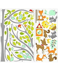 York Wallcoverings Woodland Fox and Friends Tree Peel and Stick Wall Decals