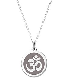 "Om Pendant Necklace in Sterling Silver and Enamel, 16"" + 2"" Extender"