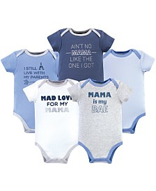 Luvable Friends Cotton Bodysuits, Mama, 5 Pack, 9-12 Months