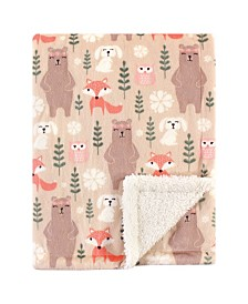 Hudson Baby Mink Blanket with Sherpa Backing, Girl Forest