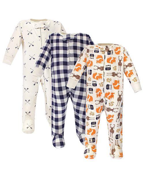 Hudson Baby Zipper Sleep N Play, Forest, 3 Pack, 6-9 Months
