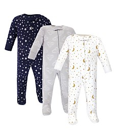 Hudson Baby Zipper Sleep N Play, Navy Stars & Moons, 3 Pack, 6-9 Months