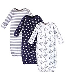 Cotton Gowns, Rocket Ship, 3 Pack, 0-6 Months