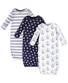 Hudson Baby Cotton Gowns, Rocket Ship, 3 Pack, 0-6 Months