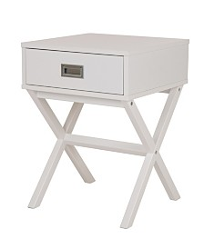 White Wooden X-Leg End Table with 1 Drawer