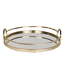 "Naples Gold Metal Mirrored Round Decorative Tray - 18.31"" x 18.11"""