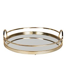 "Kate and Laurel Naples Gold Metal Mirrored Round Decorative Tray - 18.31"" x 18.11"""