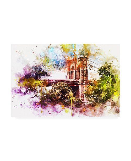 "Trademark Global Philippe Hugonnard NYC Watercolor Collection - Brooklyn Bridge Canvas Art - 15.5"" x 21"""