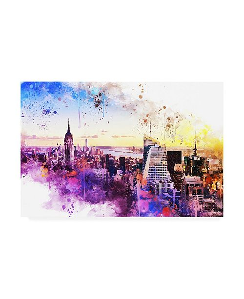 "Trademark Global Philippe Hugonnard NYC Watercolor Collection - New York Skyline II Canvas Art - 36.5"" x 48"""