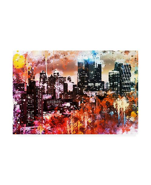 "Trademark Global Philippe Hugonnard NYC Watercolor Collection - Black Skyscrapers Canvas Art - 36.5"" x 48"""