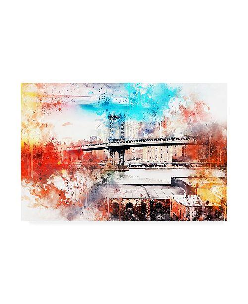 "Trademark Global Philippe Hugonnard NYC Watercolor Collection - the Manhattan Bridge IV Canvas Art - 19.5"" x 26"""