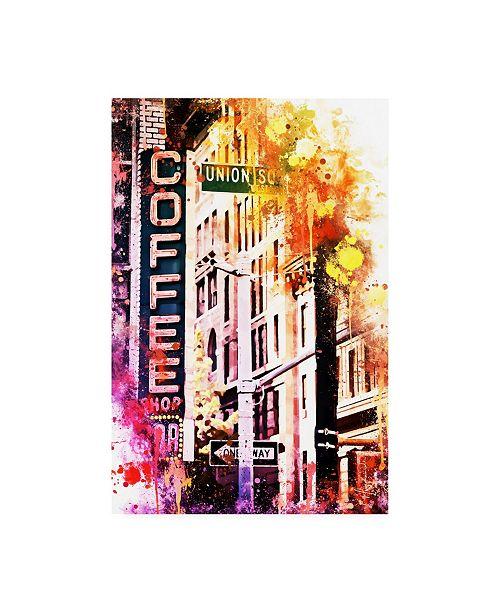 "Trademark Global Philippe Hugonnard NYC Watercolor Collection - Coffee Shop Union SQ Canvas Art - 15.5"" x 21"""