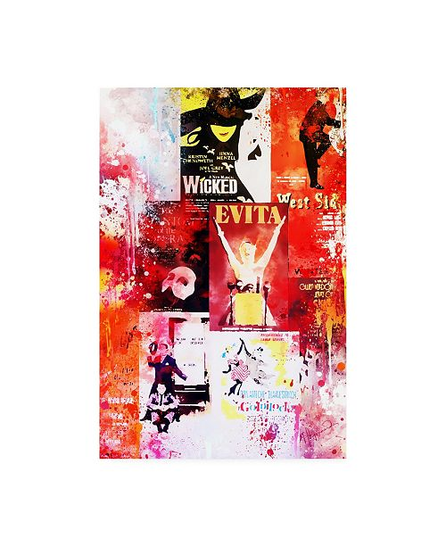 """Trademark Global Philippe Hugonnard NYC Watercolor Collection - Broadway Shows II Canvas Art - 15.5"""" x 21"""""""