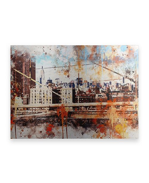 """Trademark Global Philippe Hugonnard NYC Watercolor Collection - Manhattan View Floating Brushed Aluminum Art - 21"""" x 25"""""""