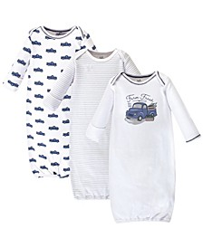 Organic Cotton Gown, 3 Pack, Truck