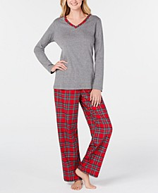 Women's Petite Plaid Flannel Mix It Pajamas Set, Created for Macy's