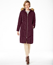 Petite Hooded Faux-Fur-Trim Down Puffer Coat