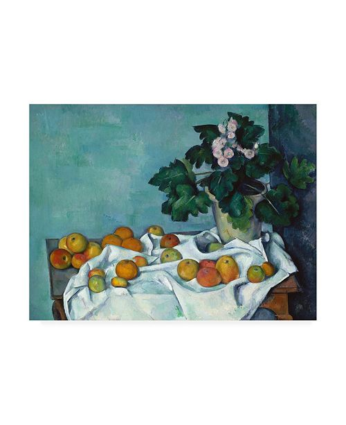 "Trademark Global Paul Czann Still Life with Apples and a Pot of Primroses Canvas Art - 19.5"" x 26"""