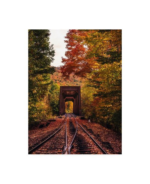 "Trademark Global Bruce Gett New England Train Trestle Bridge Canvas Art - 19.5"" x 26"""