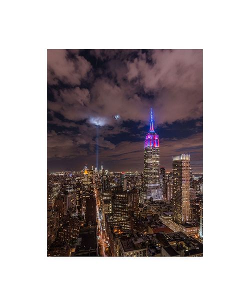 """Trademark Global Bruce Gett The Crescent Moon with The Tribute Lights Canvas Art - 15.5"""" x 21"""""""