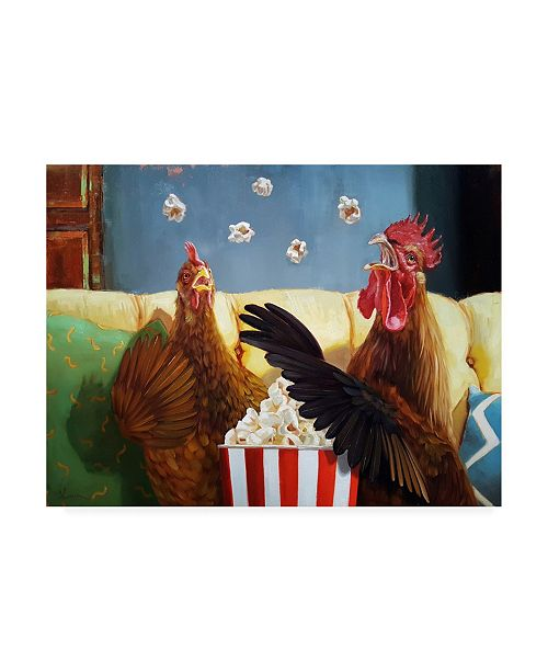 "Trademark Global Lucia Hefferna Popcorn Chickens Canvas Art - 36.5"" x 48"""