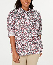 Plus Size Printed Cotton Roll-Sleeve Shirt