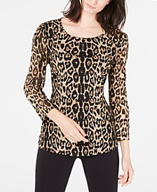 INC Petite Printed Puff-Shoulder Top, Created for Macy's