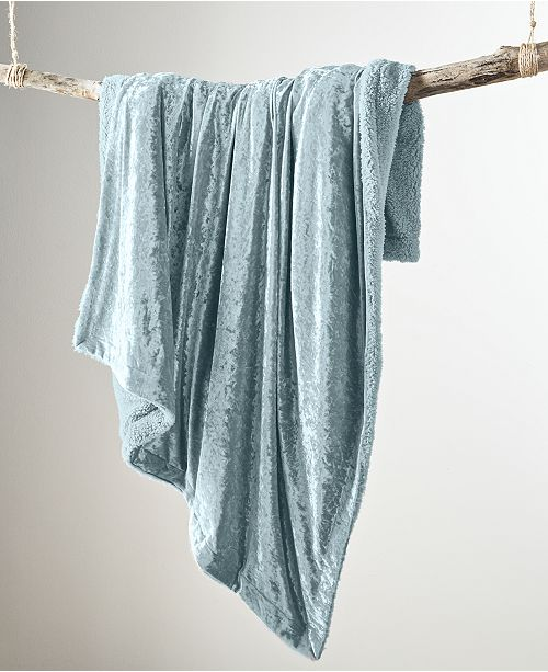 Martha Stewart Collection CLOSEOUT! Crushed Velvet Throw, Created for Macy's