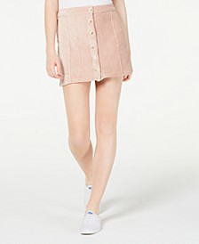 Juniors' Corduroy Button-Front Skirt
