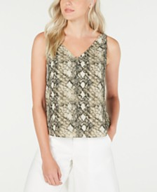 LEYDEN Sleeveless Printed V-Neck Top