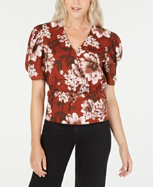 LEYDEN Printed Puff-Sleeve Top