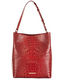 Brahmin Amelia Melbourne Embossed Leather Bucket Bag