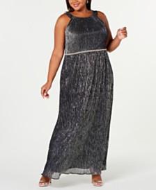 SL Fashions Plus Size Rhinestone Metallic Halter Gown