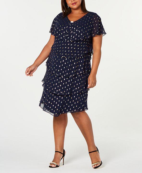 SL Fashions Plus Size Metallic-Dot Tiered Dress