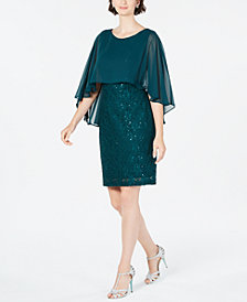 Connected Sequined Lace Capelet Dress