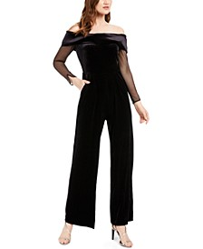 Off-The-Shoulder Velvet Jumpsuit