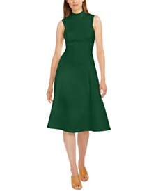 Calvin Klein Mock-Neck Fit & Flare Dress