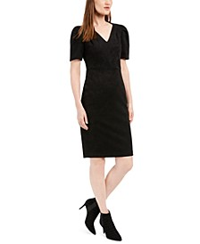 Faux-Suede Sheath Dress